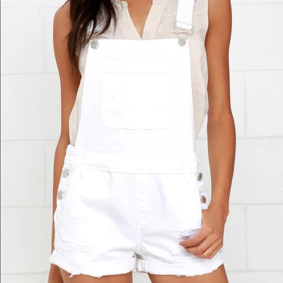 Blanknyc white denim overalls